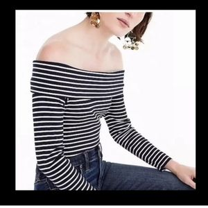 J Crew fold over off shoulder stripe top